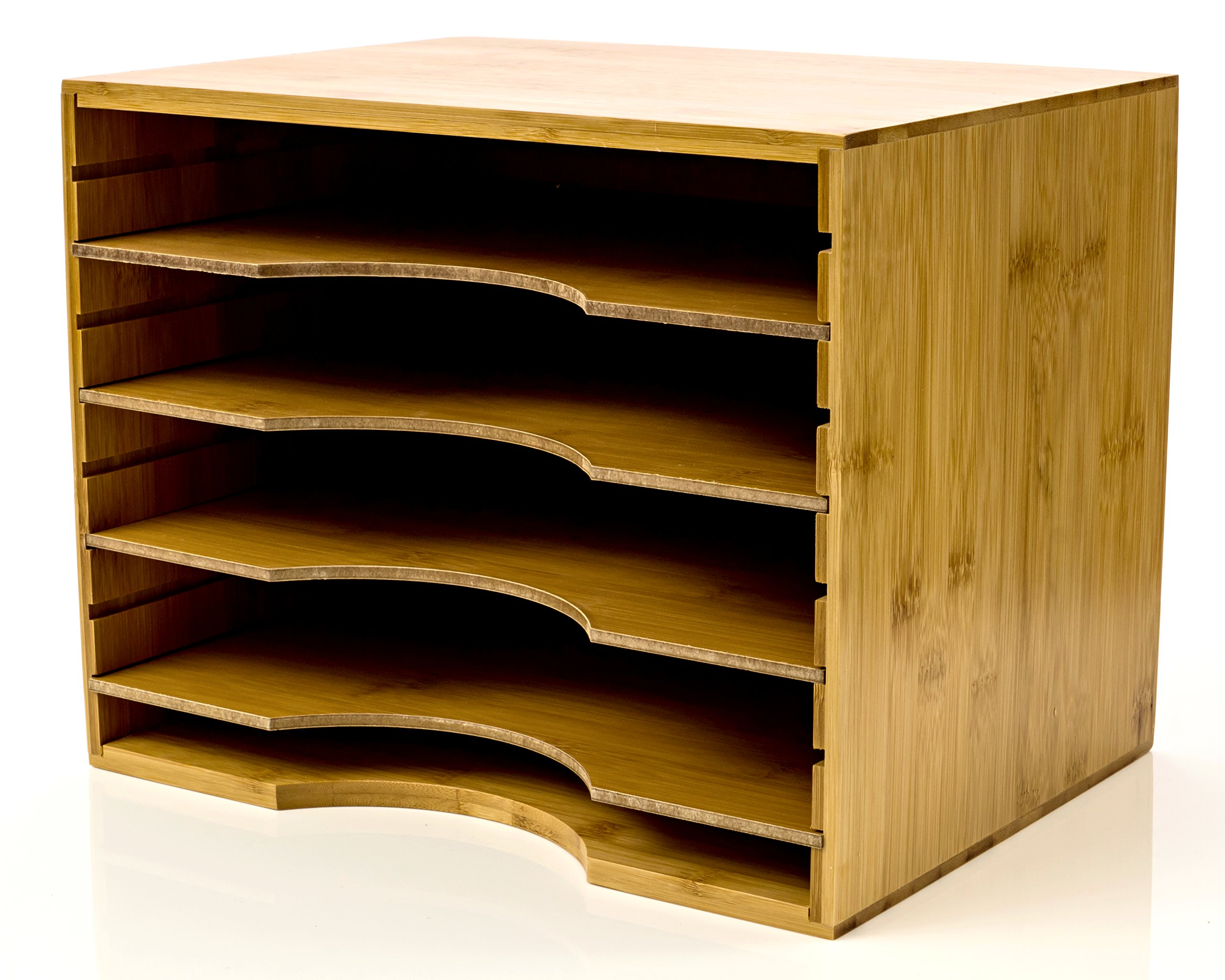 File Organizer Mail sorter, With Four Adjustable Dividers Natural Bamboo wood Color By Intriom Bamboo Collection (File Organizer) by Intriom (Image #1)