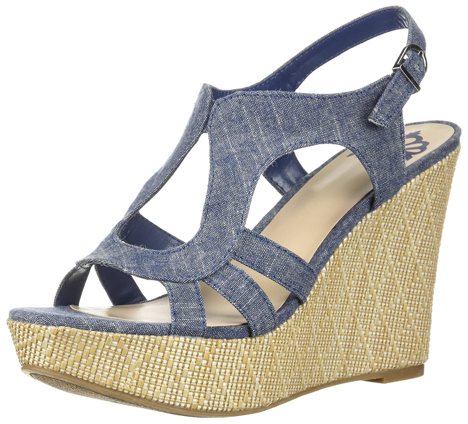 Fergalicious Women's Vista Wedge Sandal B07618SZHW 7 B(M) US|Denim