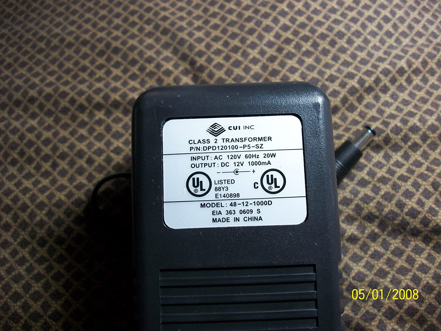 Cui Inc Dpd120100 P5 Sz Ac Power Adapter 12v 1000ma Electricitypage2 Industrial Scientific