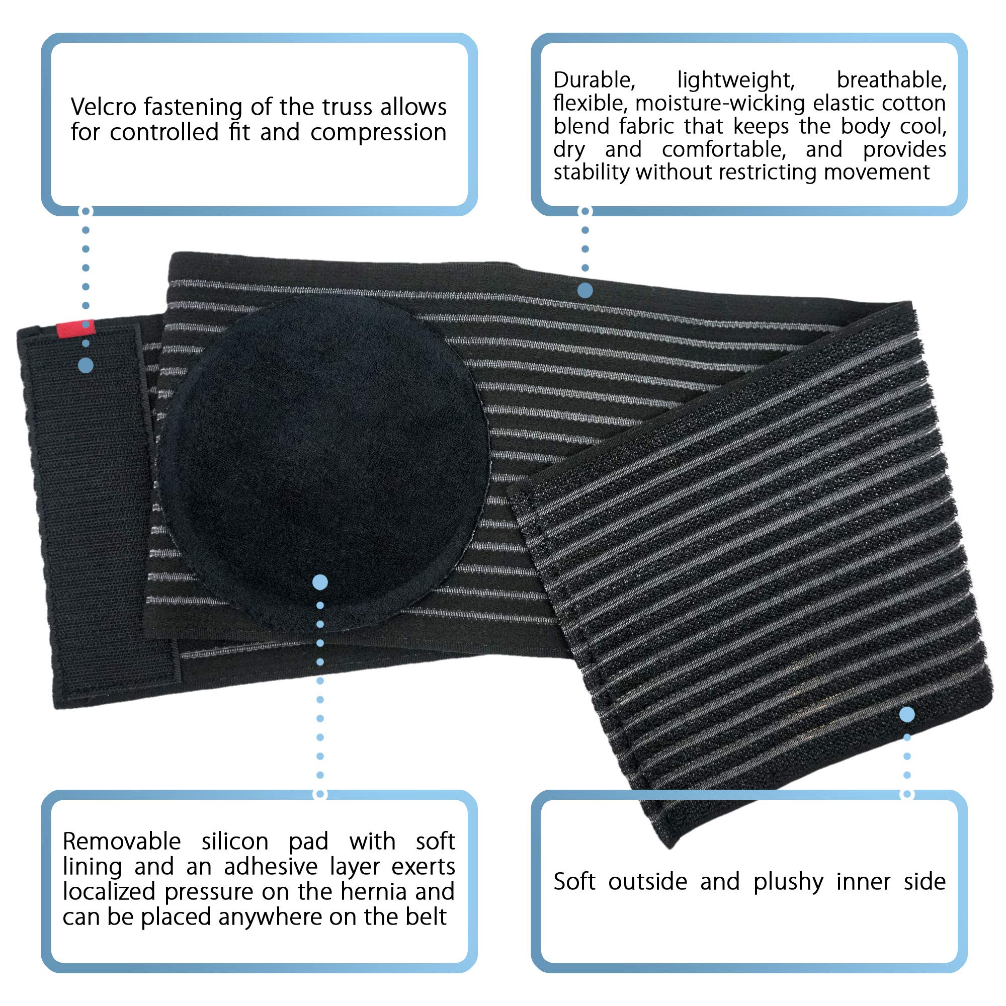 Umbilical Hernia Belt for Men and Women Abdominal Binder Hernia Support with Silicone Compression Pad Navel Ventral Epigastric Incisional and Belly Button Hernias Surgery Prevention Black OX5241-L-XXL by ORTONYX (Image #3)