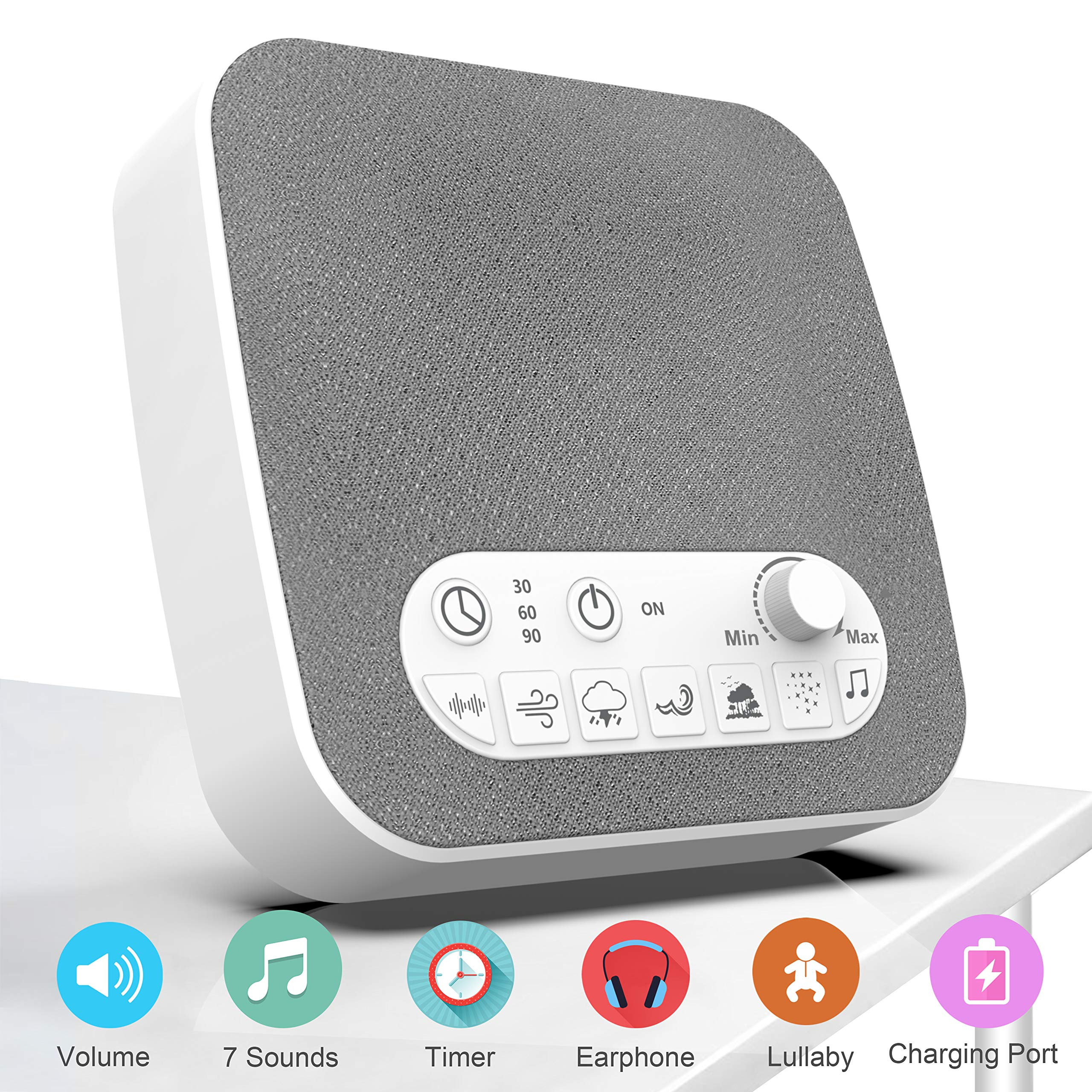 BESTHING White Noise Machine for Sleeping, Sleep Sound Machine with Non-Looping Soothing Sounds, USB Output Charger, Adjustable Volume, Headphone Jack and Auto-Off Timer, Portable Sound Therapy