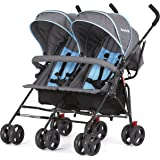 Dream On Me Volgo Twin Umbrella Stroller, Blue/Dark Grey, 10 pounds