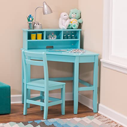 Merveilleux Classic Playtime Juvenile Corner Desk And Reversible Hutch With Chair   Teal