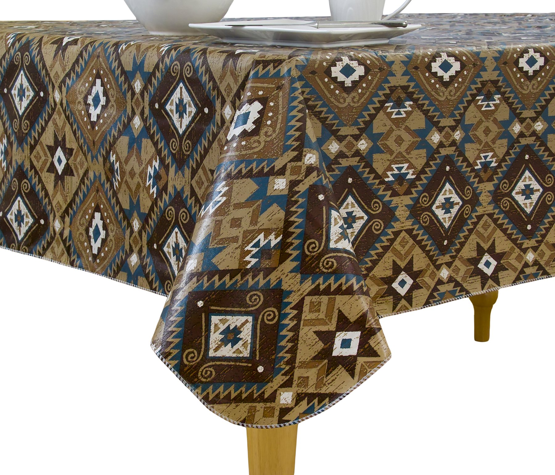 Elrene Home Fashions Vinyl Tablecloth with Polyester Flannel Backing Canyon Road Santa Fe Style Easy Care Spillproof, 52''x70'', Brown