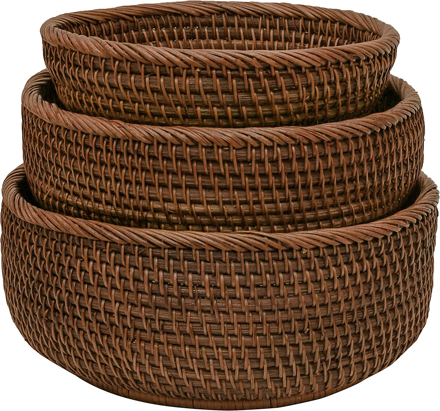 Round Wicker Baskets Handwoven Fruit And Vegetable Storage For Serving Potatoes Onions Bread Rattan Decor Basket Stackable Set 3 Fruit Holder For Kitchen Countertop Organizing Bathroom (Dark Brown)