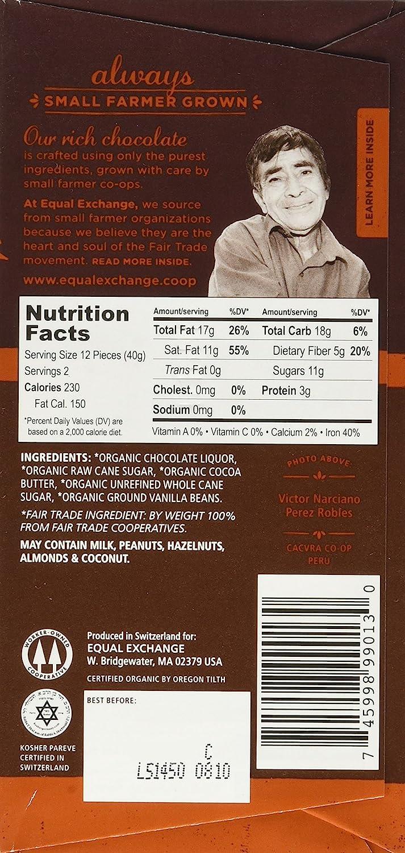 Amazon.com : Equal Exchange Organic Very Dark Chocolate, 2.8-Ounce ...