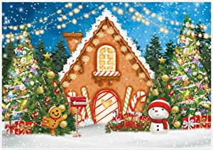 Allenjoy 7x5ft Gingerbread House Backdrop Pine Tree Gifts Deer Cookie Exchange Cartoon Fantasy Candyland Family Xmas Photography Background Newborn Baby Shower Birthday Party Decor Photo Booth Props