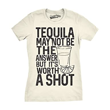 a50048ed7 Womens Tequila Not The Answer Worth a Shot Funny T Shirts Hilarious Cinco  De Mayo T Shirt (Ivory) -XXL: Amazon.co.uk: Clothing