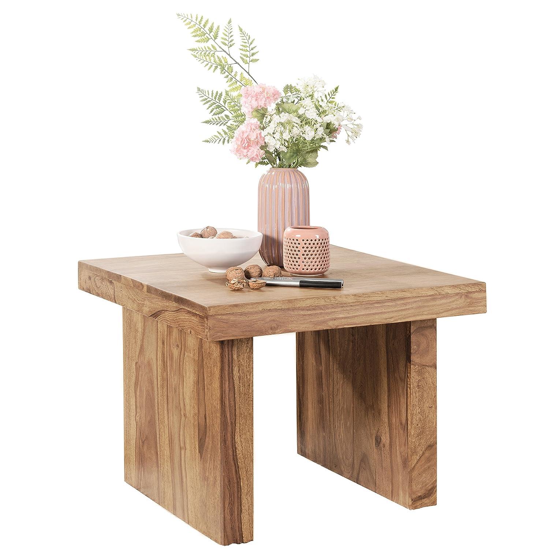 FineBuy Massiver Couchtisch PATAN Akazie 60 x 60 x 40 cm Holz Tisch Massiv | Wohnzimmertisch Quadratisch Braun | Beistelltisch Massivholz | Kleiner Design Sofatisch Akazienholz Holztisch Wohnzimmer