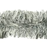 2m (6.5ft) Deluxe Thick Chunky Wide Silver Shiny Christmas Tree Tinsel Garland with Embossing Decoration