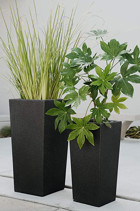 Xbrand Set Of 2 Different Sizes Modern Nested Tall Square Concrete Planter 29 Inch 24 Inch Black Furniture Decor Amazon Com