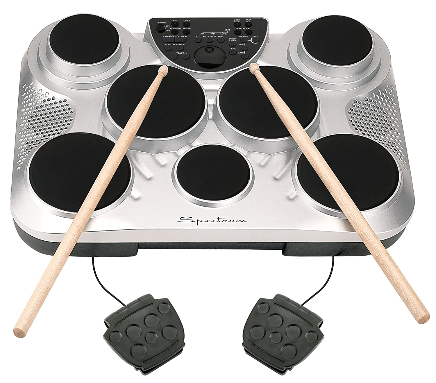 Amazon Spectrum AIL 602 7 Pad Digital Drum Set With Adjustable Stand Pedals Sticks And AC Adapter Musical Instruments
