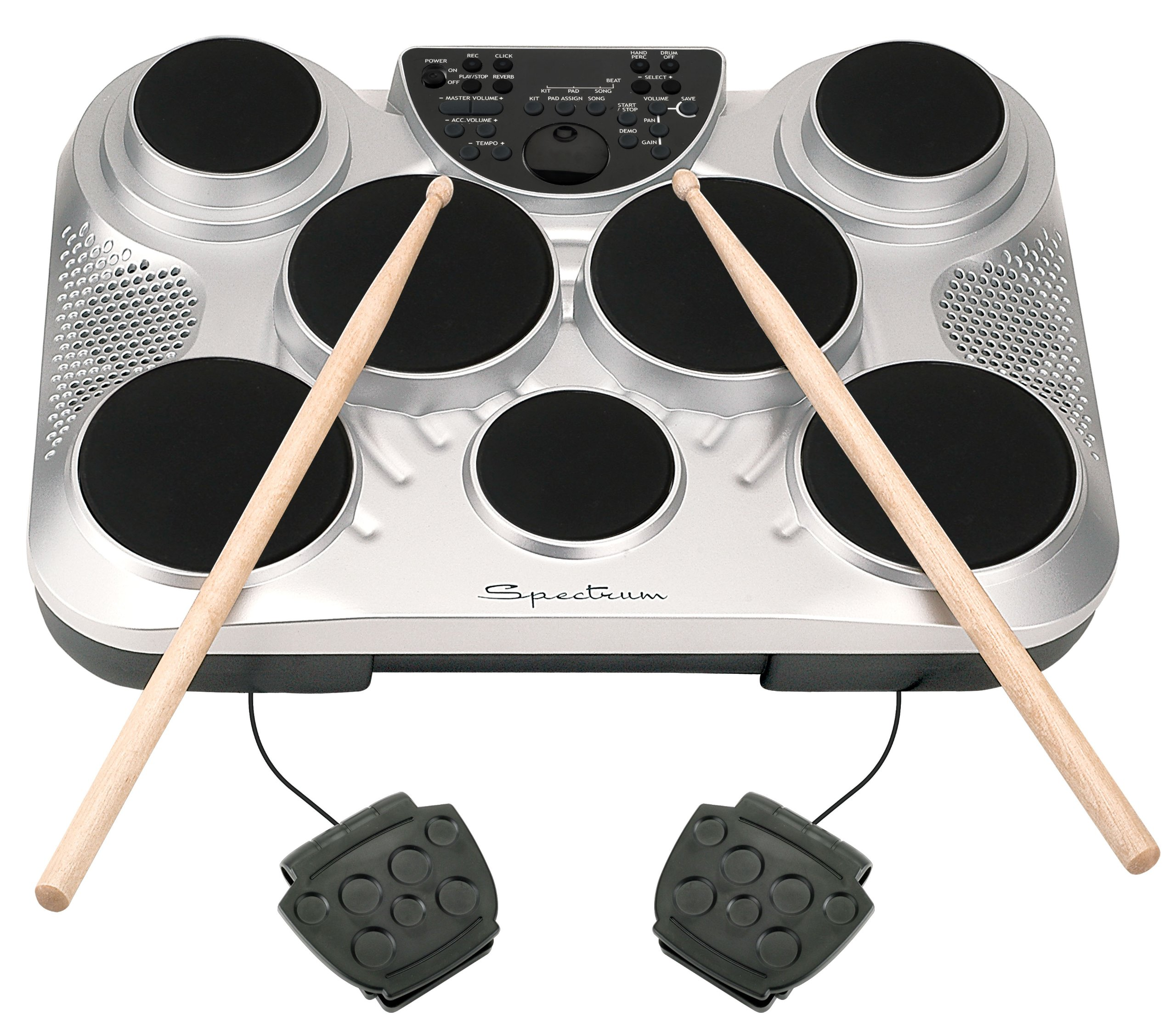 Spectrum AIL 602 7-Pad Digital Drum Set with Adjustable Stand, Pedals, Sticks and AC Adapter by Spectrum