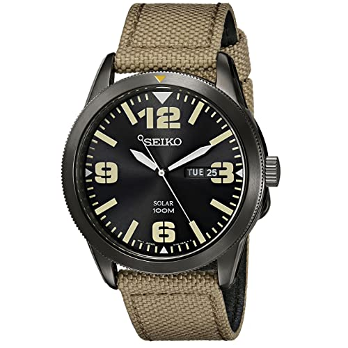 Seiko Mens Beige Nylon Strap Solar Dress Watch