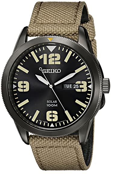 3e3b323fe Amazon.com: Seiko Men's SNE331 Sport Solar Black Stainless Steel Watch with  Beige Nylon Band: Seiko: Watches