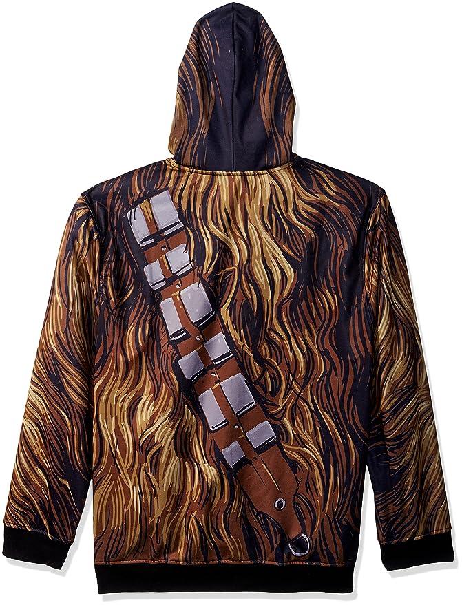 Amazon Com Star Wars Men S Chewbacca Character Zip Front Hoodie
