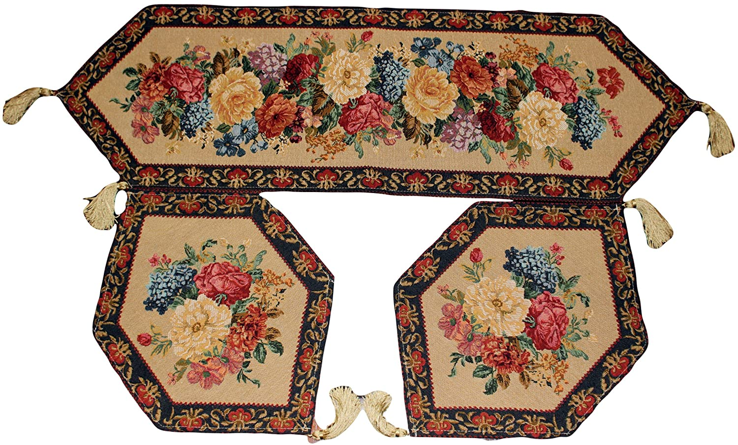 Amazon.com Tache 3 Piece Floral Tapestry Morning Awakenings Woven Table Runner Placemat Set Home u0026 Kitchen  sc 1 st  Amazon.com & Amazon.com: Tache 3 Piece Floral Tapestry Morning Awakenings Woven ...
