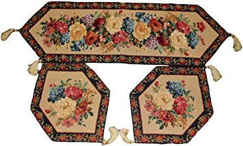 Awesome Tache 3 Piece Floral Tapestry Morning Awakenings Woven Table Runner  Placemat Set