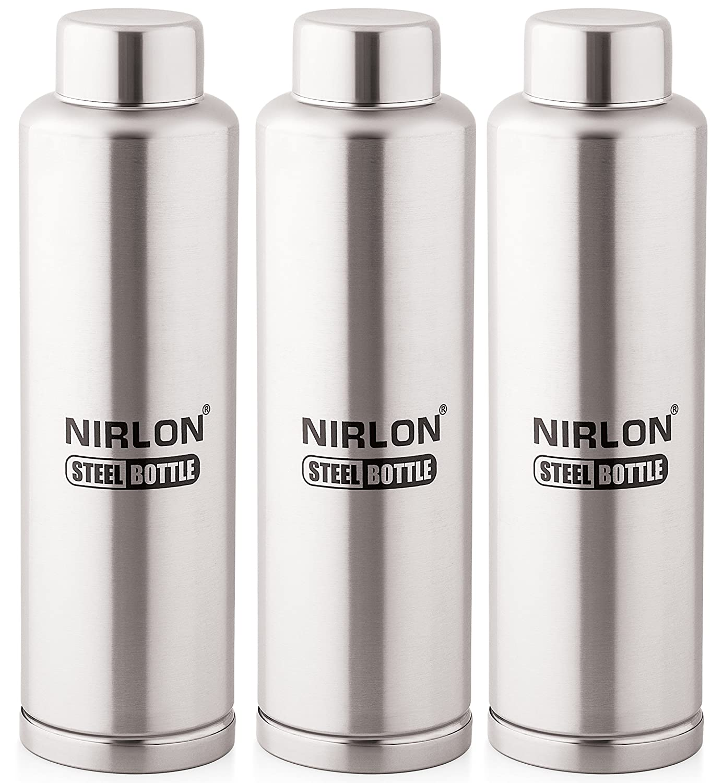 Nirlon Stainless Steel Water Bottle Set, 1 Litre, Set Of 3, Silver