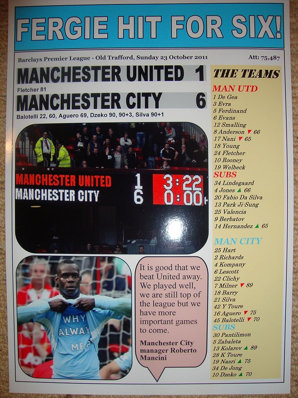Lilywhite Multimedia Manchester United 1 Manchester City 6-2011 - Souvenir Print