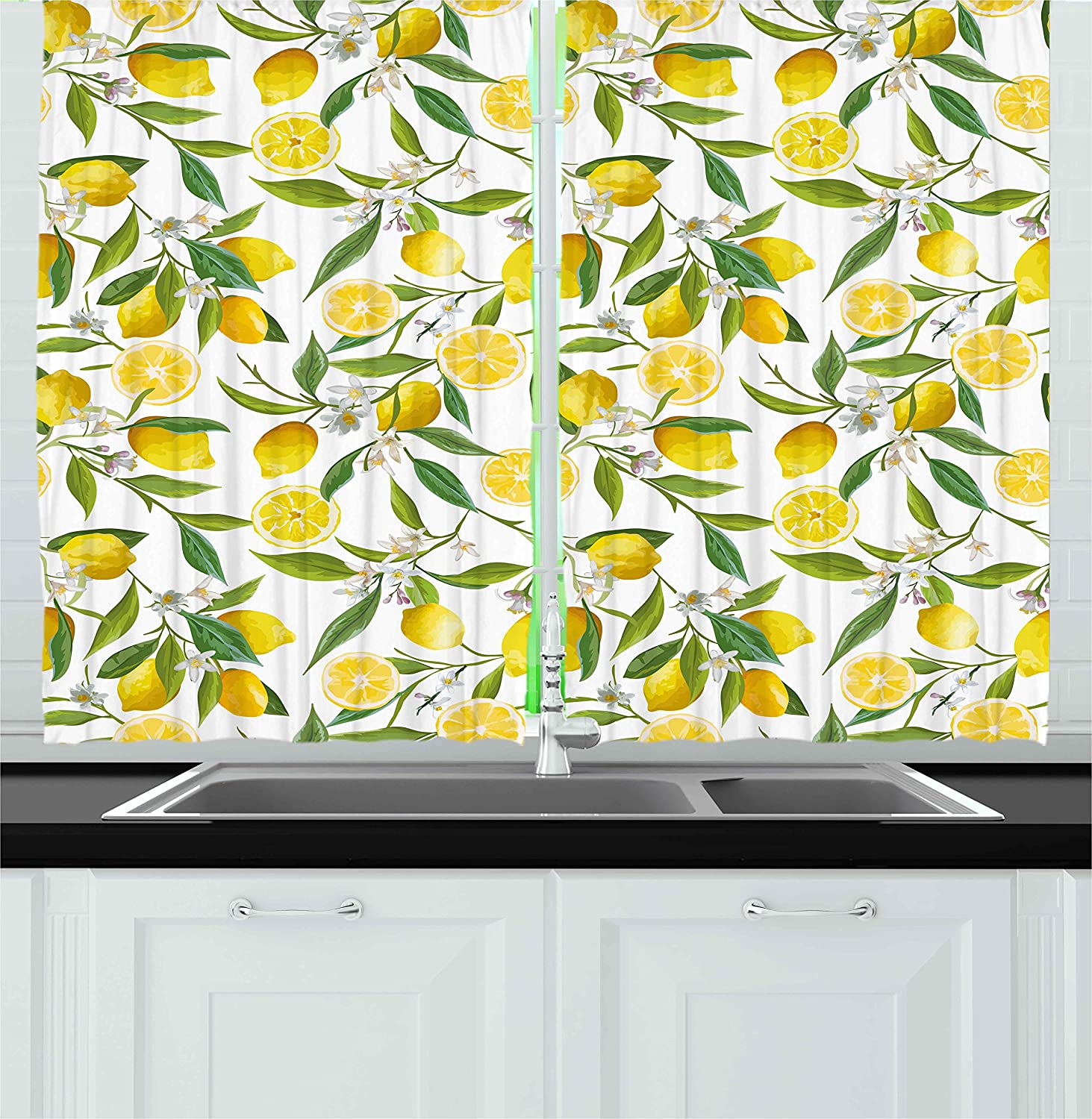 Ambesonne Nature Kitchen Curtains, Exotic Lemon Tree Branches Yummy Delicious Kitchen Gardening Design, Window Drapes 2 Panels Set for Kitchen Cafe, 55 W X 39 L inches, Fern Green Yellow White