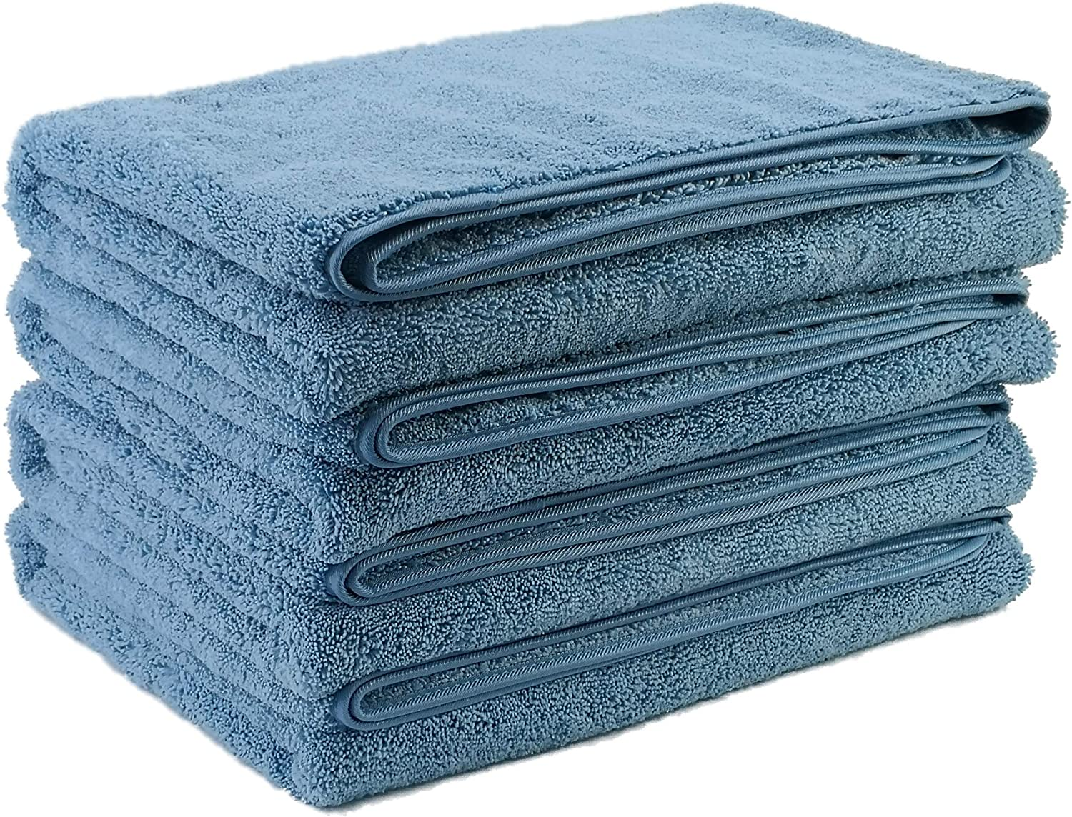 Polyte Microfiber Quick Dry Lint Free Bath Towel, 57 x 30 in, Set of 4 (Blue)