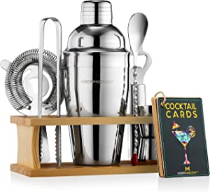 Mixology Bartender Kit with Stand   Bar Set Cocktail Shaker Set for Drink Mixing - Bar Tools: Martini Shaker, Jigger, Strainer, Bar Mixer Spoon, Tongs, Bottle Opener   Best Bartender Kit for Beginners