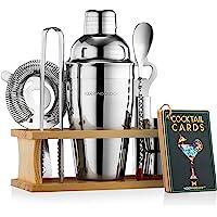 Mixology Bartender Kit with Stand | Bar Set Cocktail Shaker Set for Drink Mixing - Bar Tools: Martini Shaker, Jigger…