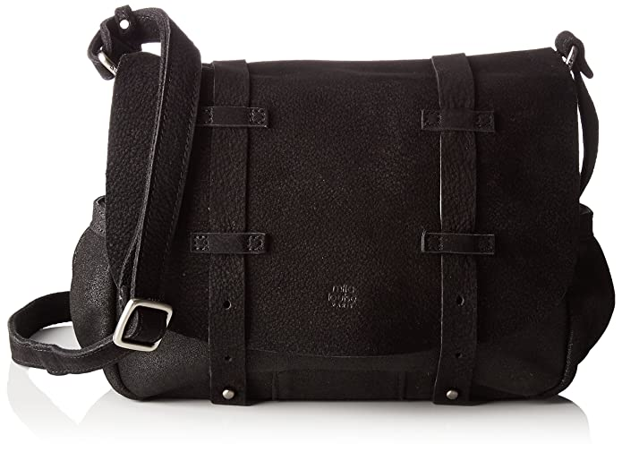 Bess Spk/cuir Noir, Womens Cross-Body Bag, 9x20x23 cm (W x H L) Mila Louise
