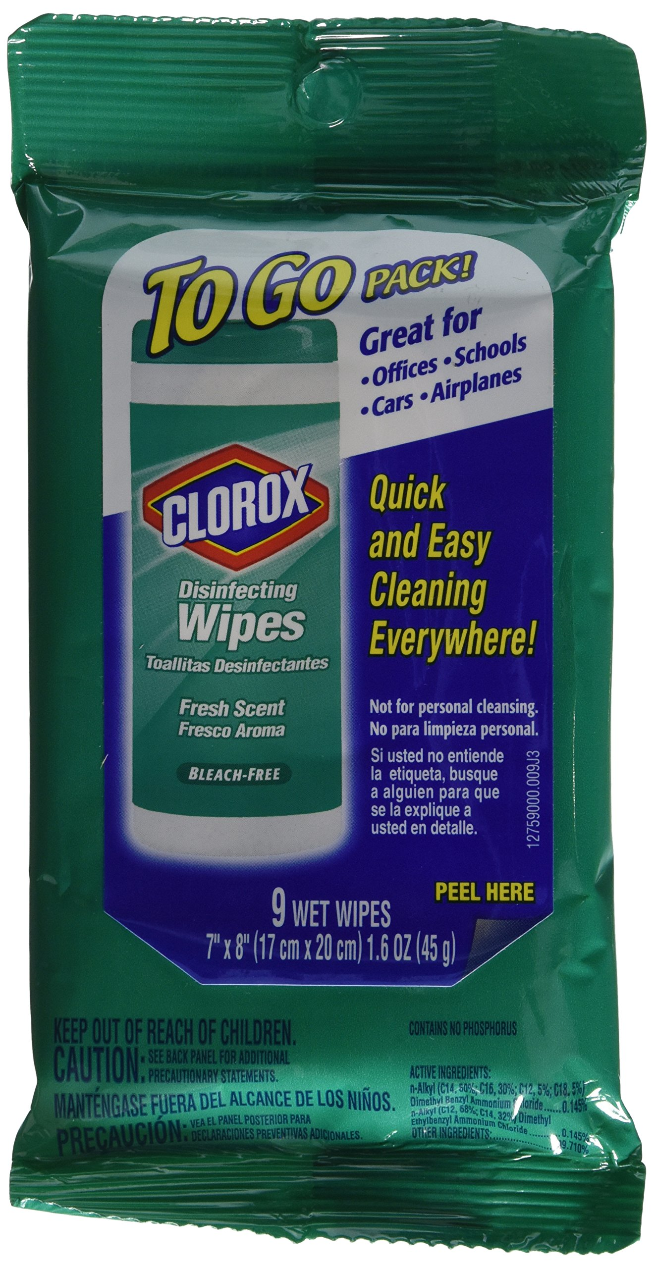 Clorox Disinfecting Wipes, Fresh Scent, To Go Pack!, 9 ct. (6 Pack)
