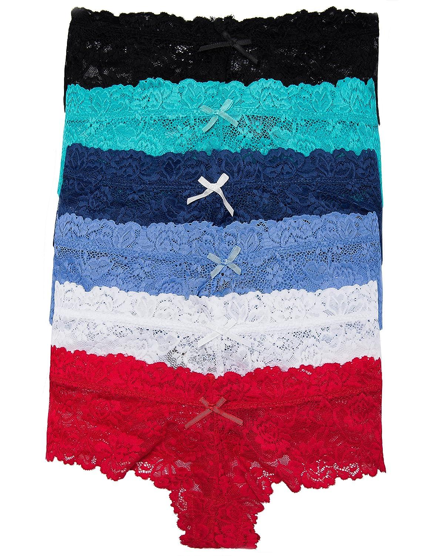 e1063bc3f 6 Pack Lace Cheeky Tanga Panty Sheer (Mix) at Amazon Women s Clothing store