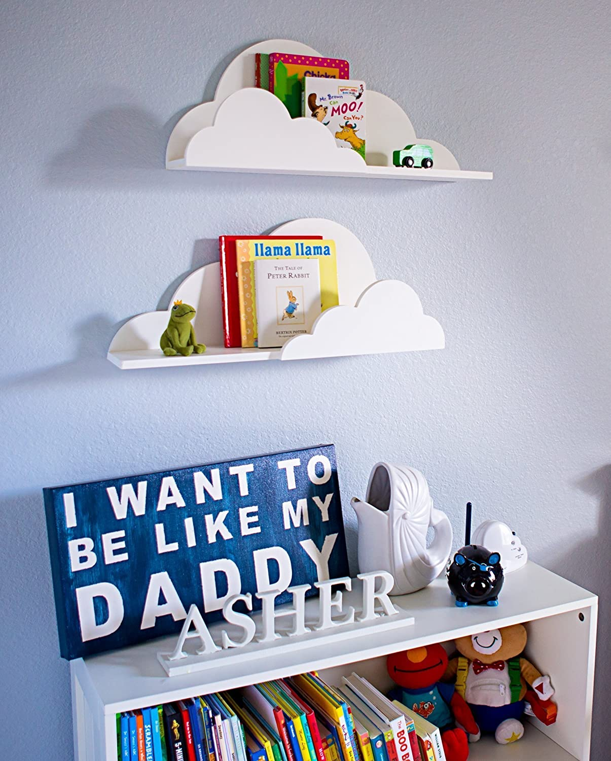 Amazon.com: Cloud Shelf For Kids Room Baby Nursery Wall Decor Hanging Cloud  Shelves   Decorations For Bedroom Wall Artwork Clouds Shelving Baby  Children ...