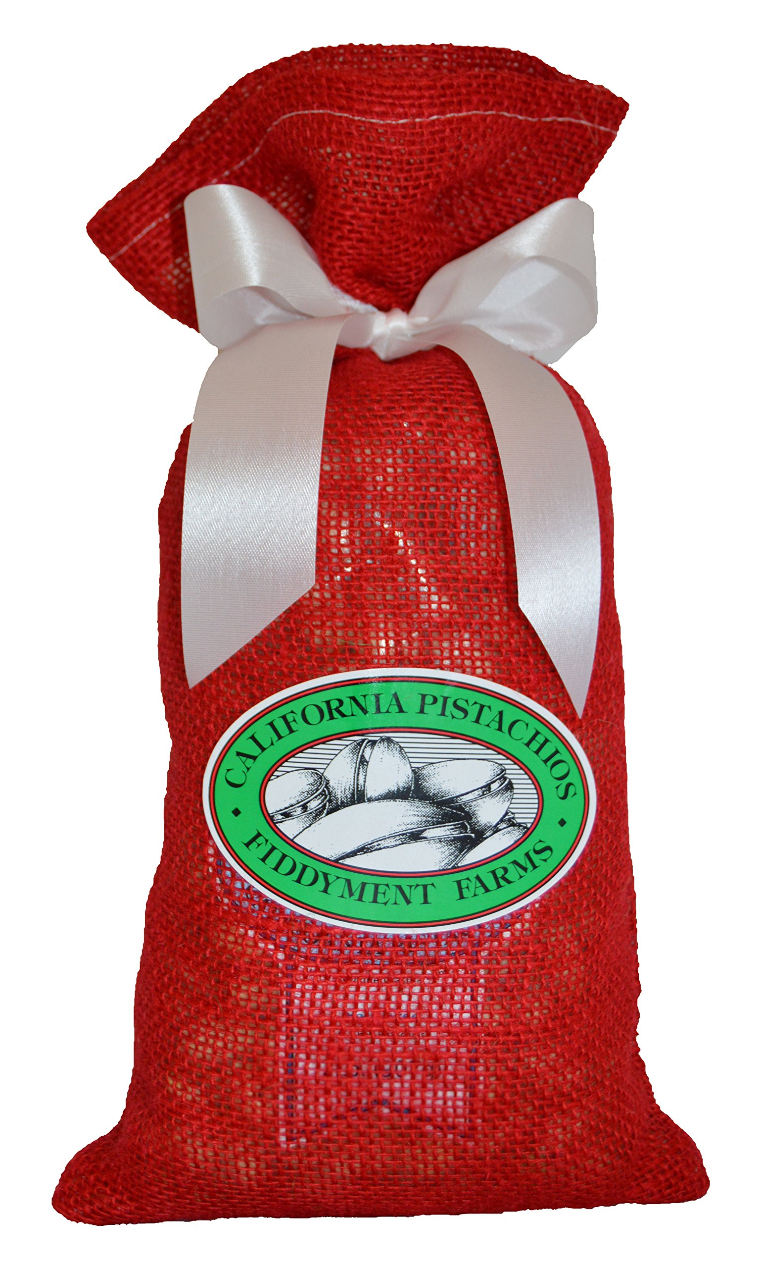 2 Lb. Salt Free Pistachios in Red Burlap Bag