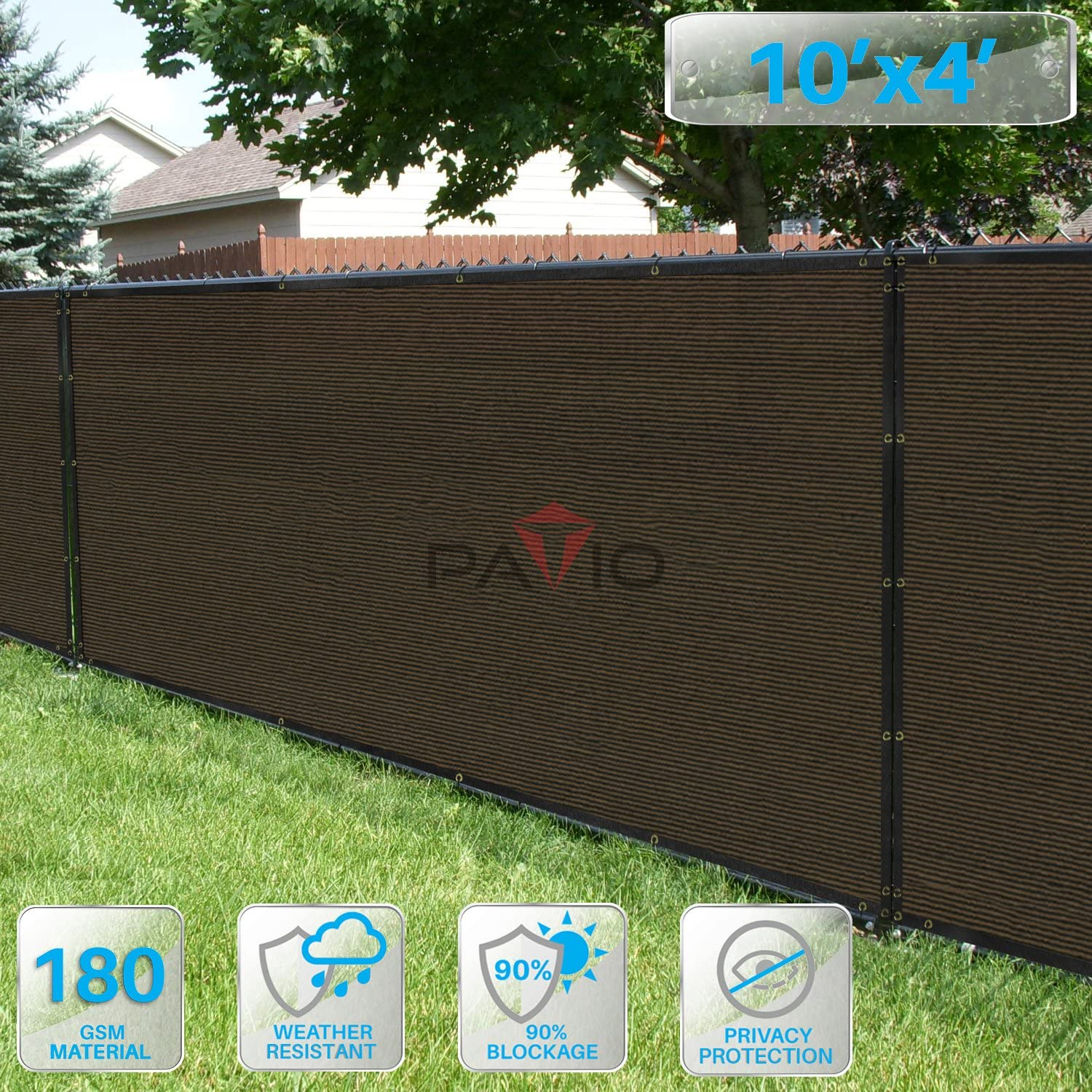 Patio Fence Privacy Screen 10 x 4 , Pergola Shade Cover Canopy Sun Block, Heavy Duty Fence Privacy Netting, Commercial Grade Privacy Fencing, 180 GSM, 90 Privacy Blockage Brown
