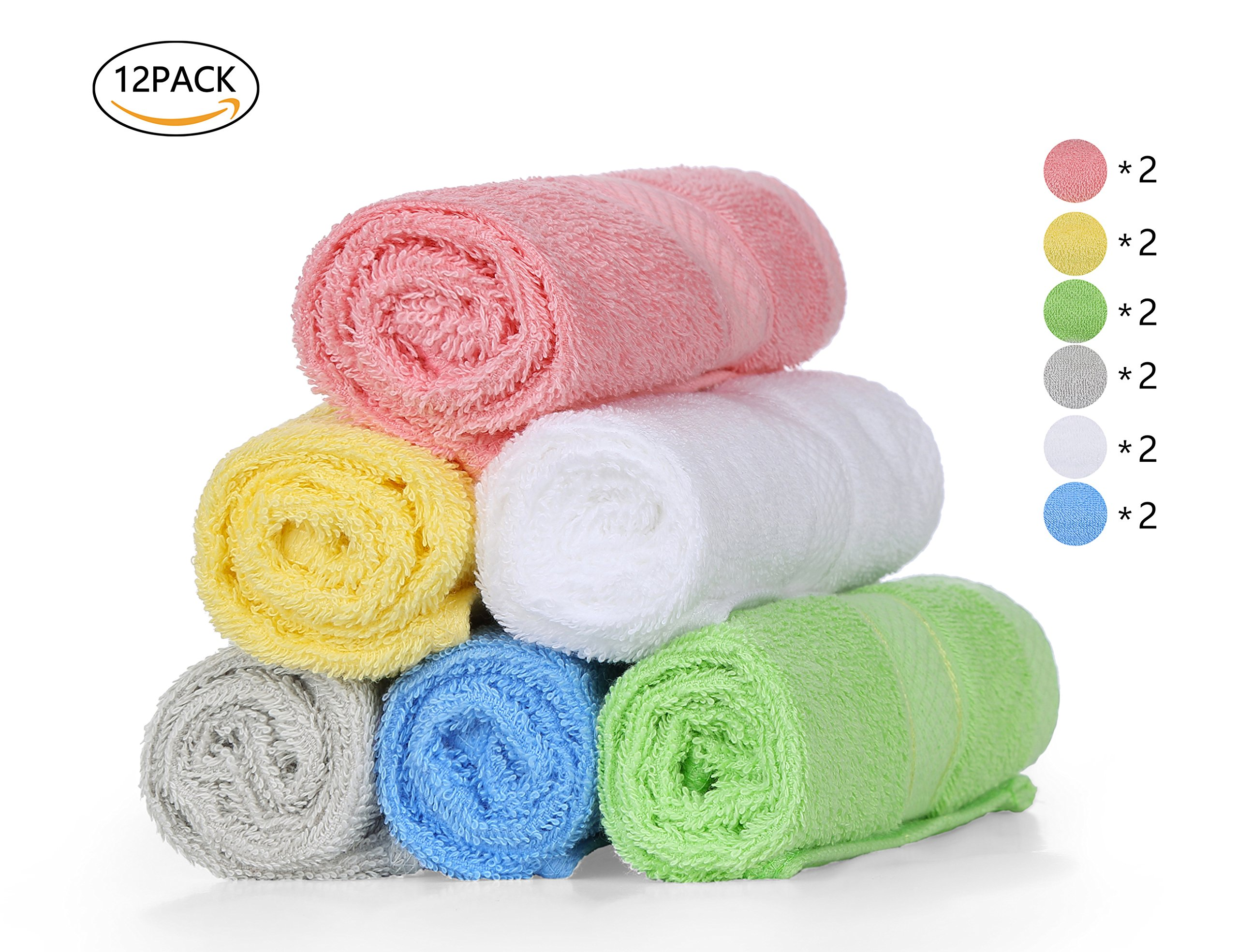 Chama Premium Luxury 100% Cotton Basic Baby Hotel Kitchen Washcloths Towels 13''x13'' Inch Face Cloths Towel Set of 12 Pack