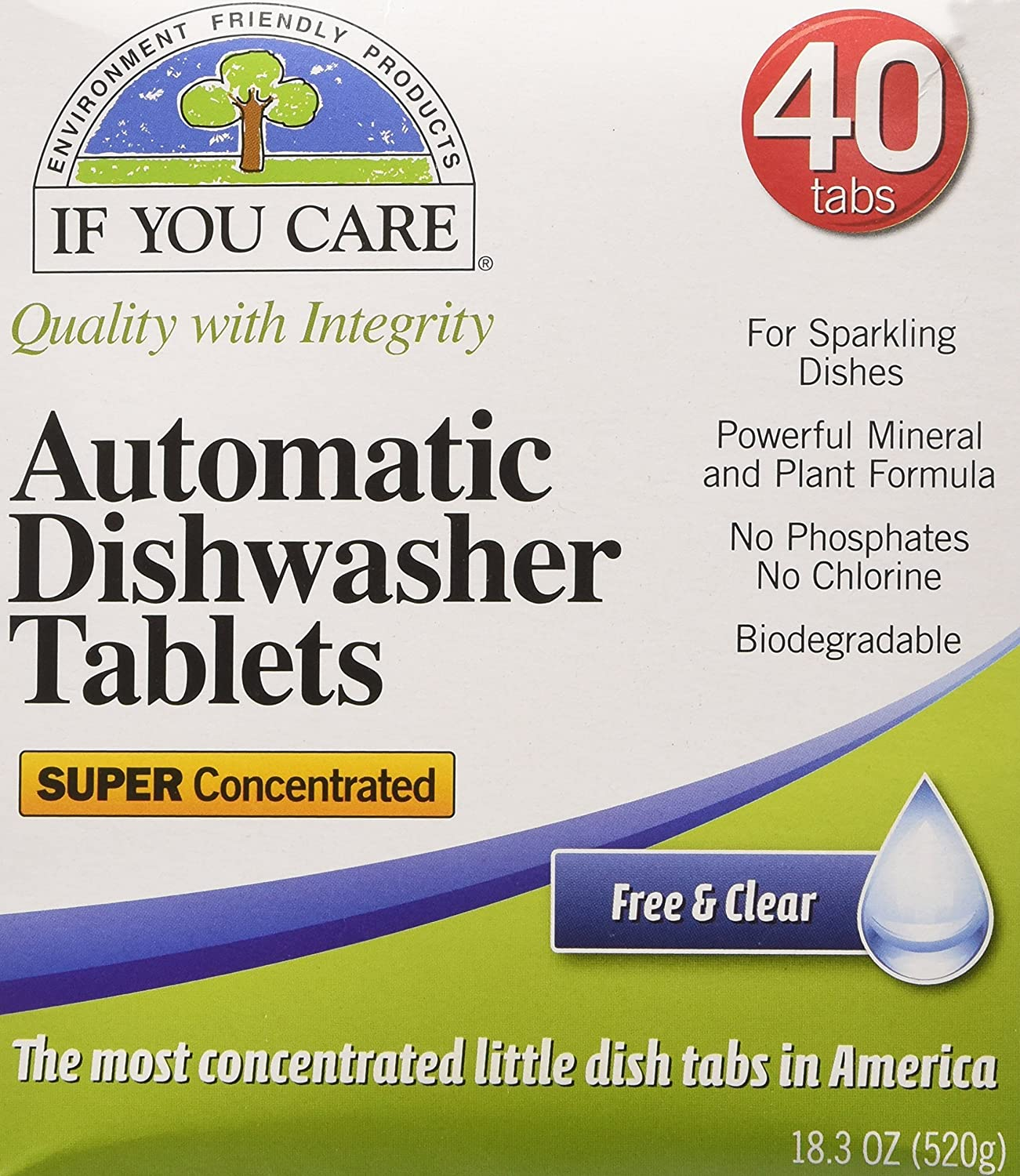 IF YOU CARE Automatic Dishwasher Tablets, 40 Count J25089