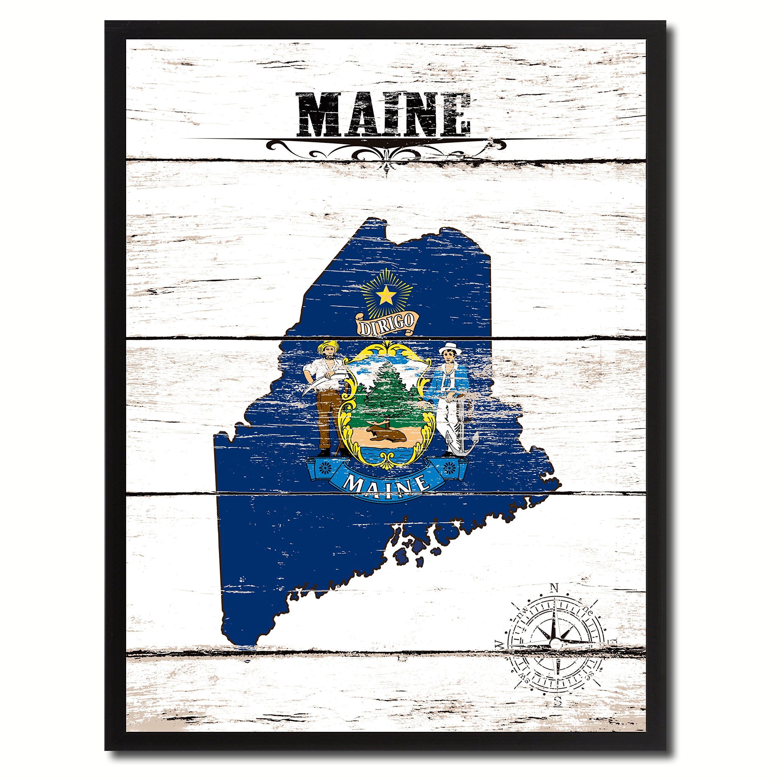 Maine State Flag Canvas Print, Black Picture Frame Gifts Home Decor Wall Art Decoration