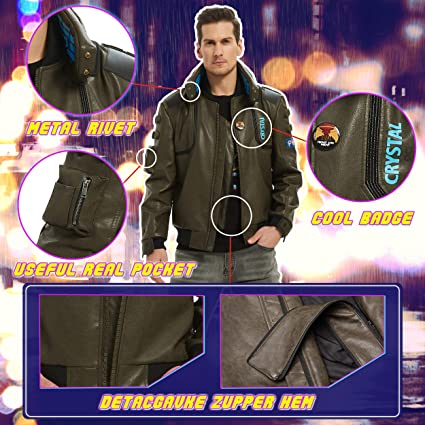 saounisi Faux Leather Coat for Cyberpunk 2077,Samurai Jacket Cosplay Costume Men /& Women Army Green