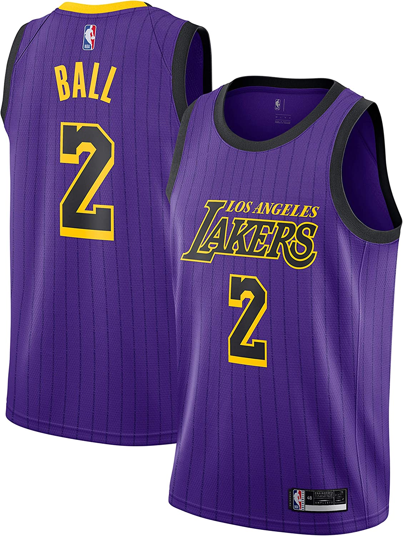 Amazon Com Outerstuff Lonzo Ball Los Angeles Lakers 2 Youth Purple Stripe Alternate Swingman Jersey Clothing