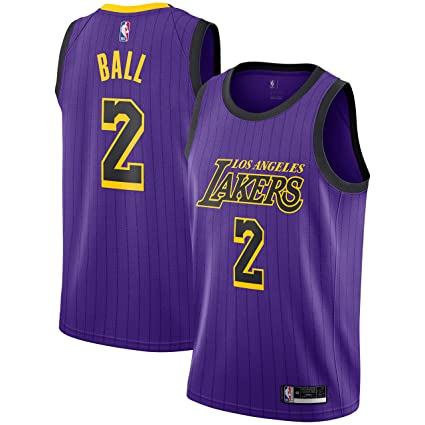 brand new 18d79 15931 Amazon.com: Lonzo Ball Los Angeles Lakers #2 Youth Purple ...