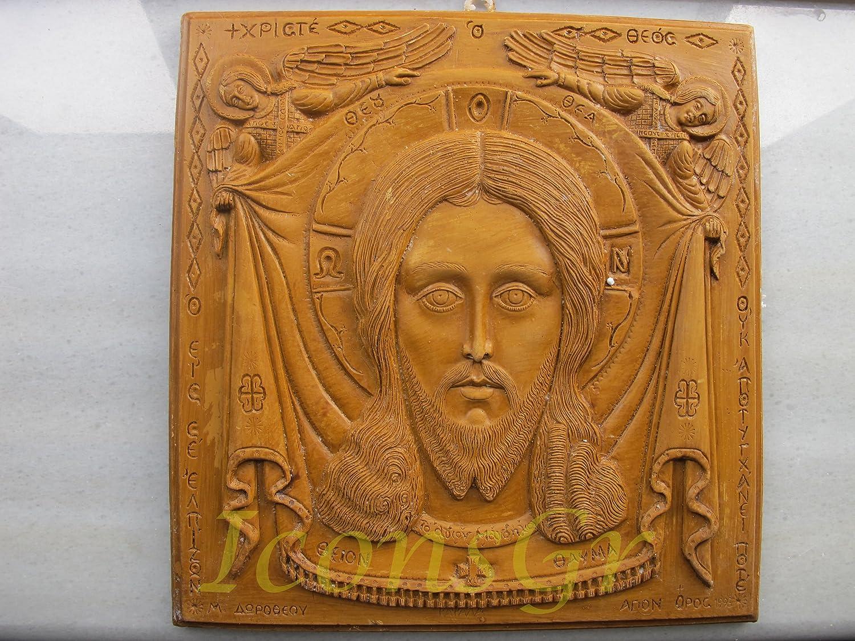 ハンドメイド 彫刻 アロマ ワックス アイコン 神聖なマンディリオンのアトス山からの祝福 122 B00J2AB12U
