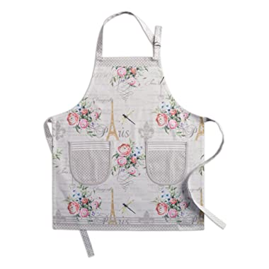 Maison d' Hermine Champ de Mars 100% Cotton Apron with an Adjustable Neck & Two Side Pockets, 27.50 - inch by 31.50 - inch