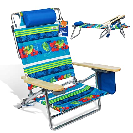 Astounding Portable Folding Beach Chair 5 Position Lay Flat Reclining With Extra Wide Seating Area Cup Holder And Storage Pouch Lightweight Aluminum Frame For Interior Design Ideas Pimpapslepicentreinfo
