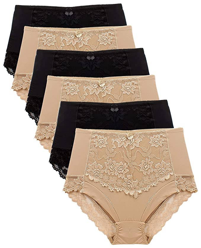 982b151ad196 Barbra's 6 Pack Ruched-Rear Uplift Full Brief Lace Trim Panties at Amazon  Women's Clothing store: