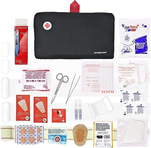 Botiquín de primeros auxilios PREMIUM con 120 artículos (incluye termómetro, manta de emergencia, suero fisiológico, etc): Amazon.es: Salud y cuidado personal