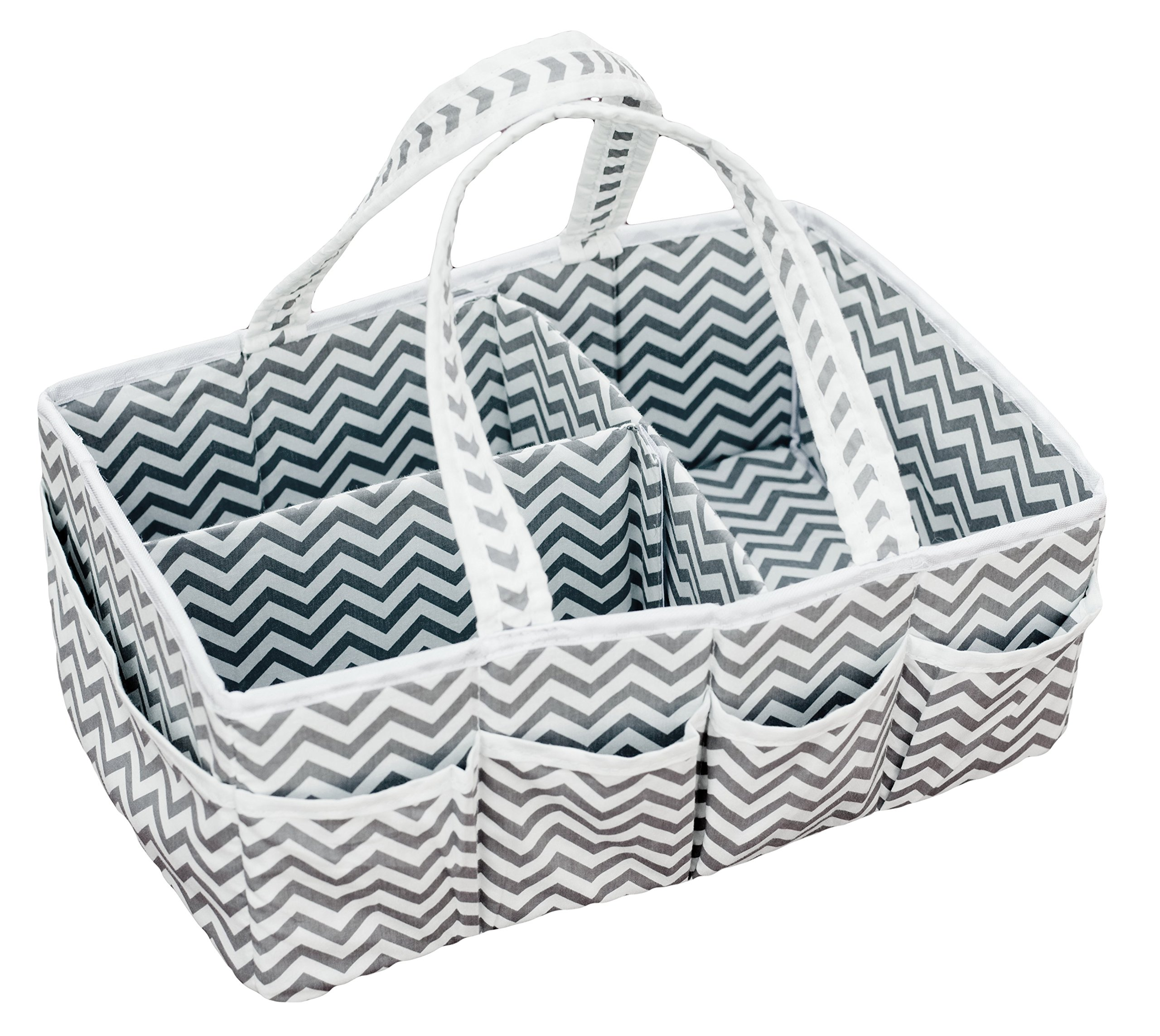 SARVOND Baby Diaper Caddy Organizer w/10 Side Pockets & Strong Handles. Trendy Chevron Tote for Boys & Girls, Shower Gift Basket, Easy for Travel & Nursery Changing Tables, Portable Organizing Caddie
