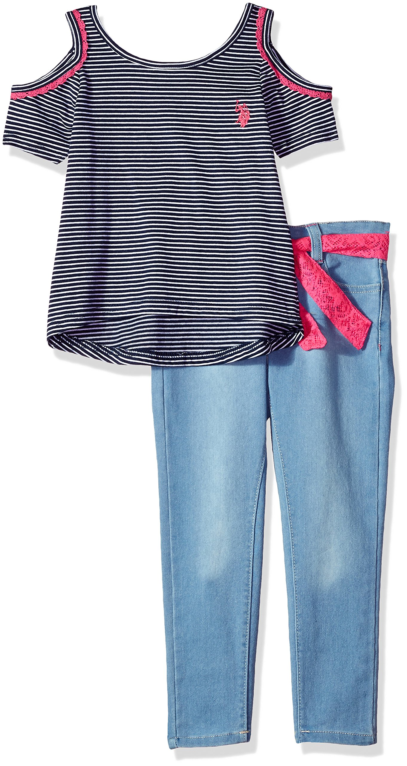 U.S. Polo Assn.. Little Girls' Fashion Top and Pant Set, Cold Should Stripe Top Sateen Denim Multi, 5