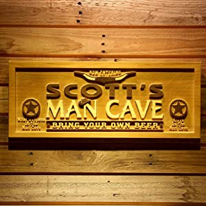 ADVPRO wpa0054 Name Personalized Man Cave Wooden 3D Engraved Sign Custom Gift Craved Bar Beer Home Décor Lake House Plaques Game Room Den Wood Signs - Standard 23
