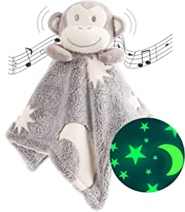 Security Blanket - Glow In The Dark, Monkey Sensory Blanket. The Super Soft, Unisex Security Blanket For Babies Glows In The Dark & Helps Babies Find Their Blanket At Night & Fall Straight Back Asleep