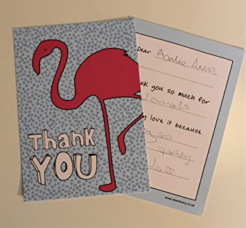 easy peasy flamingo kids thank you notes 10 pack amazon co uk